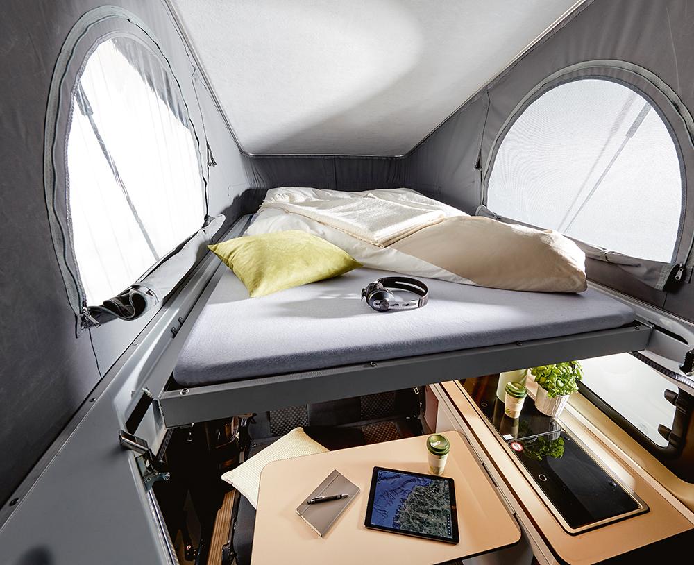 Slaapruimte in het hefdak.